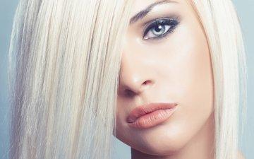 глаза, девушка, блондинка, взгляд, губы, макияж