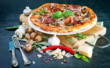 грибы, сыр, вилка, перец, пицца, специи, пряности, брынза, ветчина, боровики
