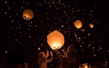 фонари, люди, япония, фонарики, японии, фестиваль, sky lantern festival, ниигата