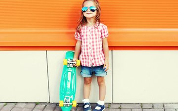 summer, glasses, girl, skateboard, child, little girls
