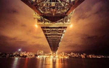 ночь, огни, отражение, мост, залив, сидней, австралия, бухта, городской пейзаж, ноч, cityscape
