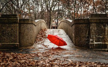 bridge, the city, autumn, red, umbrella