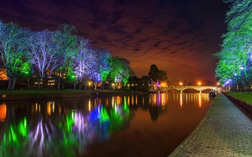 ночь, деревья, фонари, огни, парк, мост, водоем, подсветка, пруд, парки, деревь, мостики