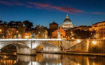 ночь, фонари, огни, река, мост, домики, италия, рим, рек