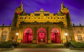 ночь, фонари, домики, шотландия, музей, glasgow, kelvingrove
