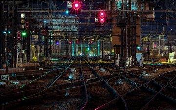 ночь, фонари, железная дорога, станция, ноч, railroads