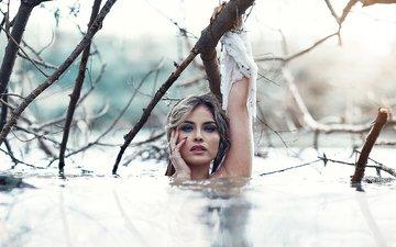 озеро, девушка, отражение, ветви, фотограф, алессандро ди чикко