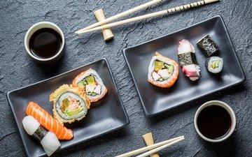 палочки, суши, роллы, японская кухня, соевый соус