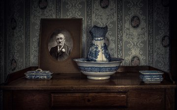 portrait, retro, set, dressing table
