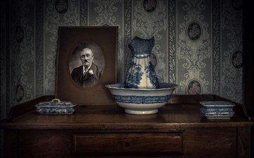 portrait, retro, set, dressing table