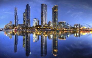 река, отражение, небоскребы, ночной город, здания, австралия, yarra river, мельбурн, река ярра