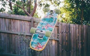 рисунок, доска, забор, скейтборд