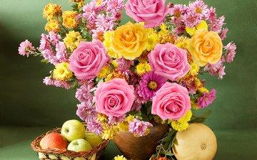 розы, яблоки, букет, яблок, хризантемы, натюрморт, роз