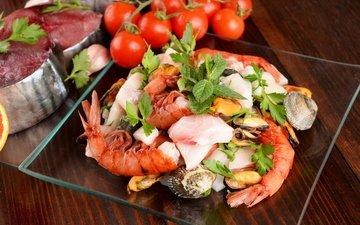рыба, помидоры, морепродукты, креветки, мидии, креветка, помидорами, seafoods