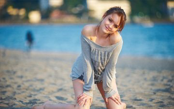 солнце, девушка, море, улыбка, пляж, красавица, девочки, вс, жопа, деятель, boobs, сексапильная