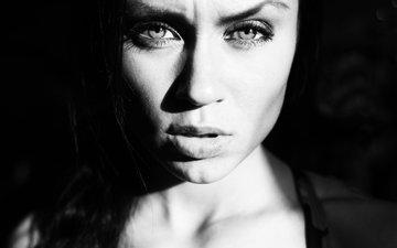 девушка, взгляд, чёрно-белое, лицо, сексапильная, white and black