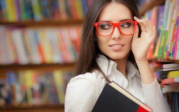 девушка, взгляд, очки, модель, книга, сексапильная, модел, книгa