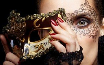 маска, взгляд, модель, лицо, сексапильная, модел