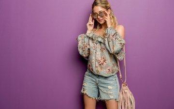 стиль, девушка, очки, волосы, лицо, милашка, сумка, изабель