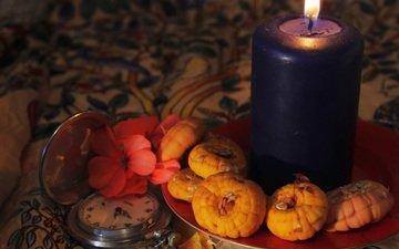 light, flower, fire, watch, candle, plate, still life