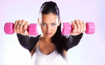 девушка, женщина, фитнес, гантели