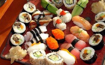 зелень, грибы, япония, ломтики, россыпь, икра, перец, рис, суши, роллы, морепродукты, васаби, японская кухня, сашими, лосось, сервировка, имбирь, красная рыба