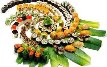 зелень, листья, украшения, ломтики, рис, суши, роллы, морепродукты, креветки, красная икра, японская кухня, лосось, сервировка, тунец, нарезка, красная рыба, черная икра