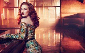 интерьер, платье, красные губы, красные волосы, джессика честейн, джессика частейн