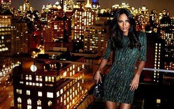 девушка, модель, нью-йорк, крыша, эмануэла де паула
