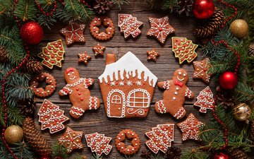 new year, christmas, cookies, cakes, glaze, xmas, decoration, gingerbread, merry