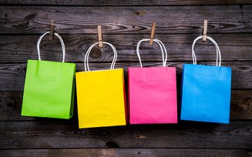 colorful, rope, color, clothespins, packages, handbags