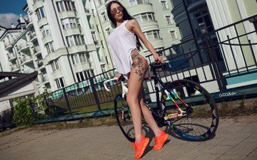 girl, brunette, model, tattoo, bike, sneakers