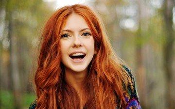 девушка, улыбка, взгляд, рыжая, модель, волосы, лицо
