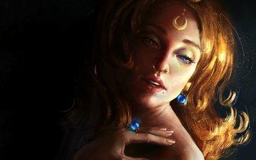 девушка, фон, взгляд, кольцо, лицо, сёрьги
