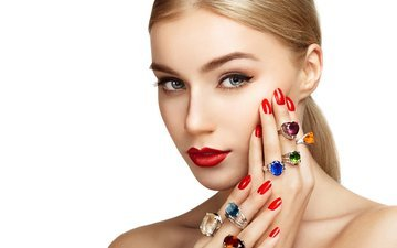 девушка, фон, взгляд, лицо, руки, кольца, макияж, помада