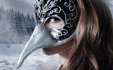trees, snow, winter, girl, background, mask, look, hair, face
