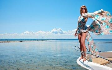 небо, девушка, море, взгляд, яхта, отдых