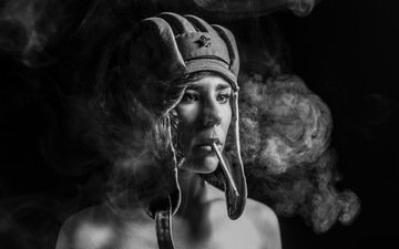 girl, look, helmet, black and white, cigarette