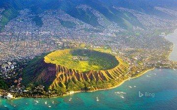 the city, crater, the volcano, hawaii, bing, honolulu, diamond head