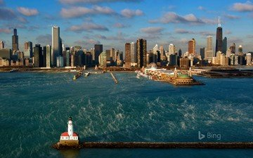 the city, usa, chicago, bing