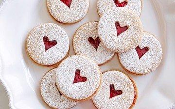 сердце, джем, сладкое, печенье, выпечка, сердечка