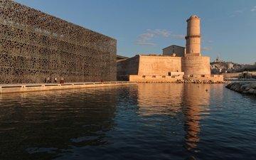 крепость, франция, гавань, марсель, fort saint-jean