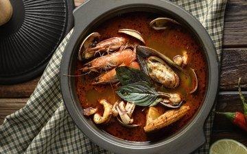 морепродукты, креветки, суп, моллюски