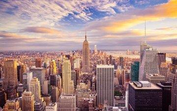 небо, облака, рассвет, побережье, небоскребы, мегаполис, залив, дома, сша, нью-йорк