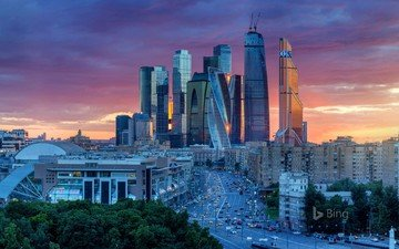 night, lights, sunset, moscow, the city, russia, bing