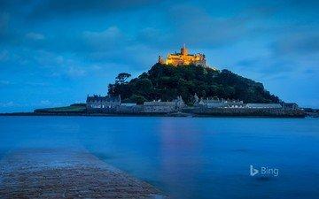 night, castle, france, bing, mont saint-michel