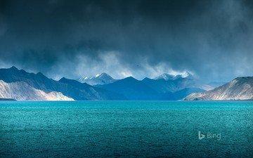 lake, mountains, nature, india, bing