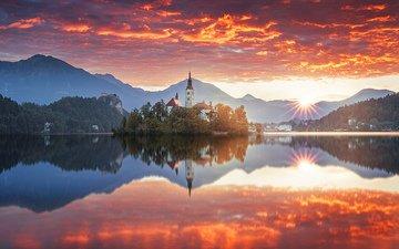 озеро, горы, природа, пейзаж, часовня, лейка, блед