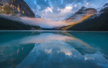 lake, mountains, nature, fog, canada, bing, louise