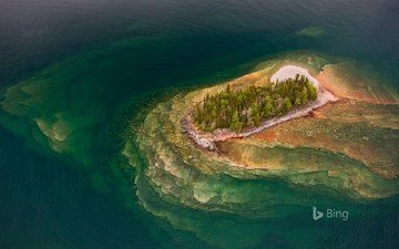 lake, nature, landscape, island, bing, lake superior